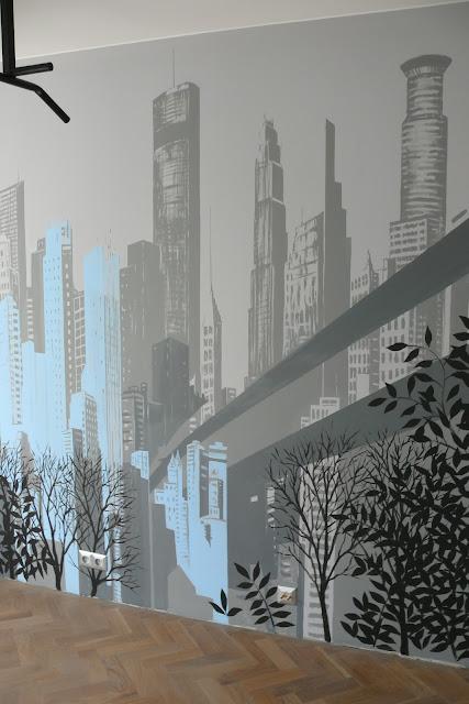 Mural przedstawiający panoramę miast, malowanie obrazu na ścianie w sypialni, obraz abstrakcyjny przedstawiający miasto