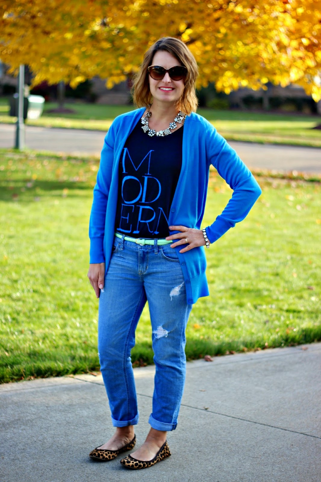 Fall look, J crew blue cardigan and MODERN top, leopard flats, distressed boyfriend jeans