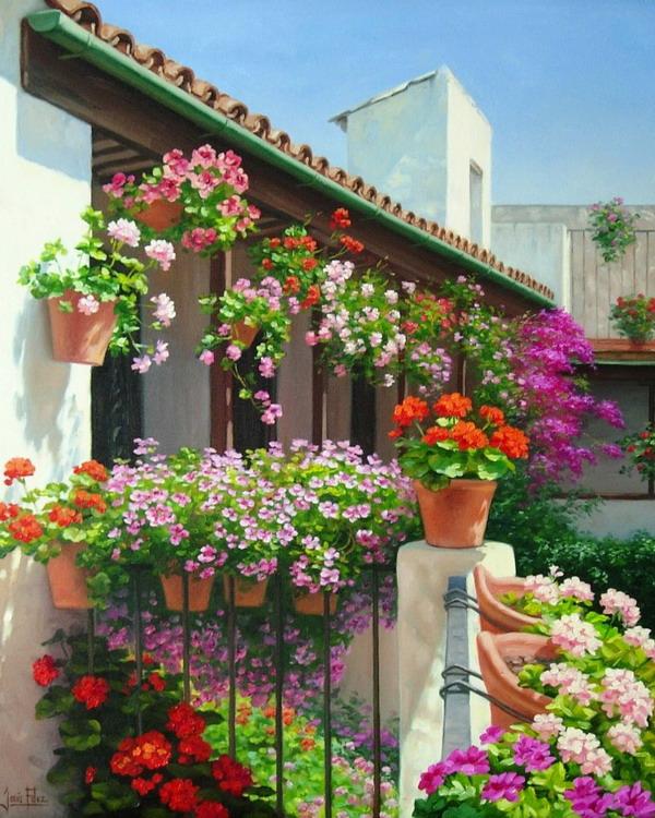 Cuadros modernos pinturas y dibujos paisajes de patios andaluces con flores del pintor - Imagenes de patios andaluces ...