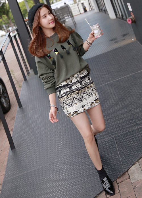 Ethnic Pattern Mini Skirt
