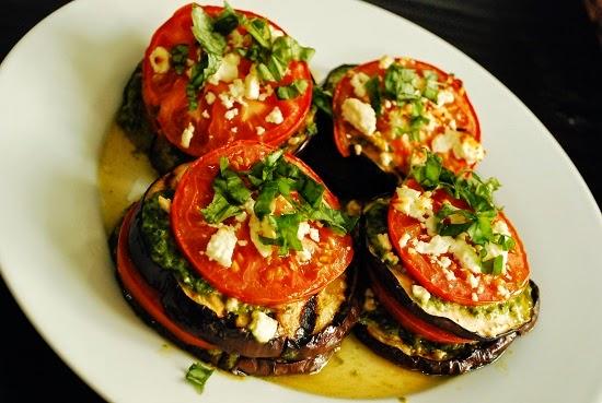 Grilled Eggplant With Tomato, Feta & Basil