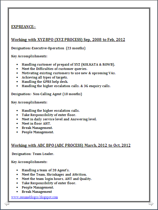 bpo call centre resume sample in word document resume formats