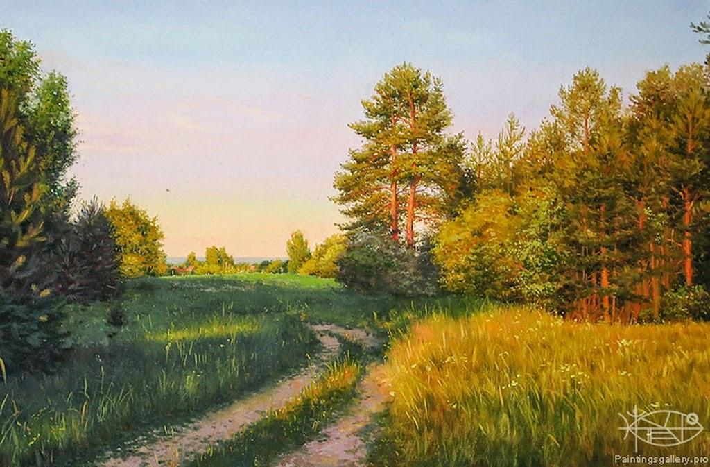 El arte en Rusia. Paisaje-con-camino-pintura-al-oleo