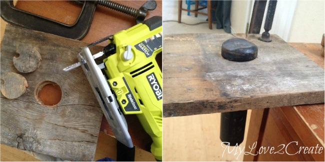 cutting a hole in wood to attach car jack