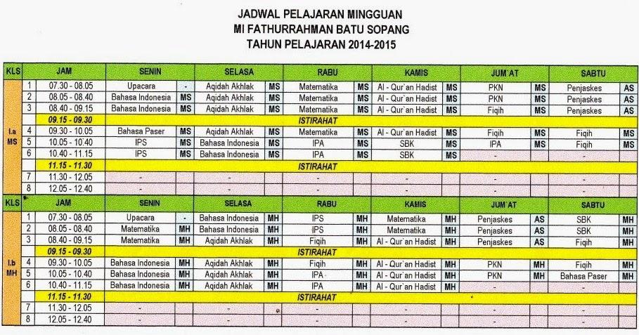 Format Jadwal Pelajaran Mi Fathurrahman Tp 2014 2015 Mis Fathurrahman Batu Sopang