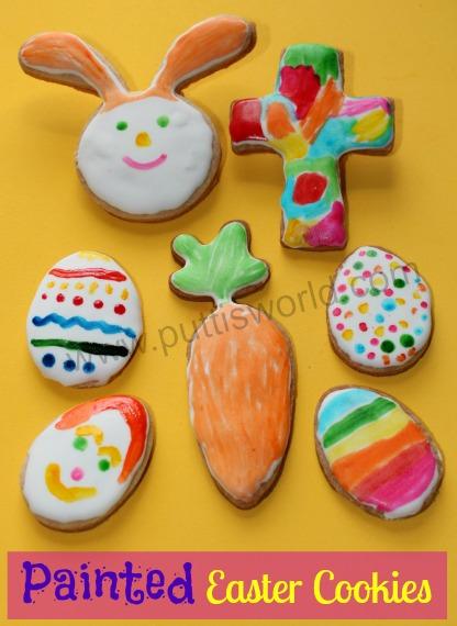 Kids Painted Easter Cookies