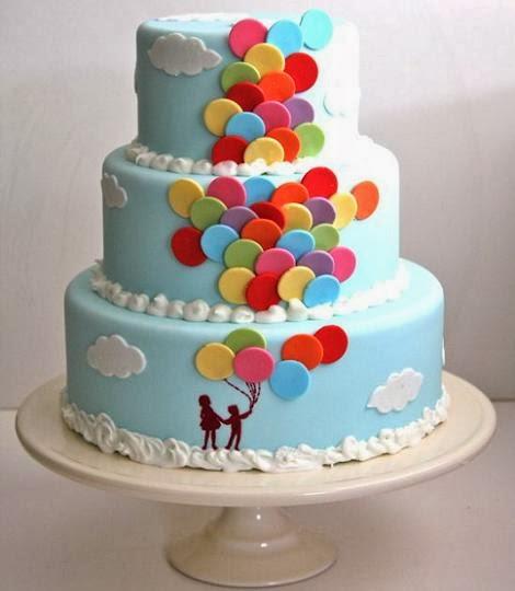 Tarta con globos colores