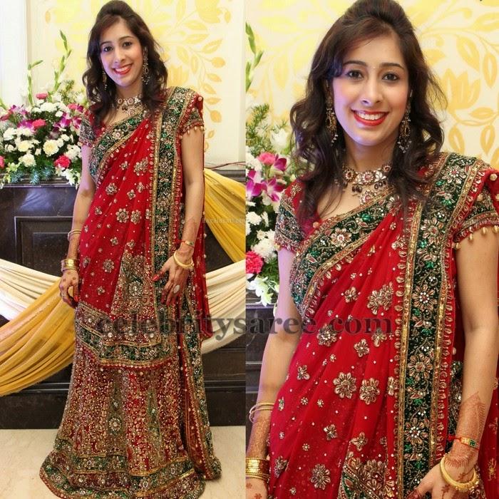 Bridal Work Red Half Saree