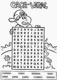 Vamos a Caça das seguintes palavras - corrida - ferro - verruga - terra - varre - surra - burro - correio - Terreno