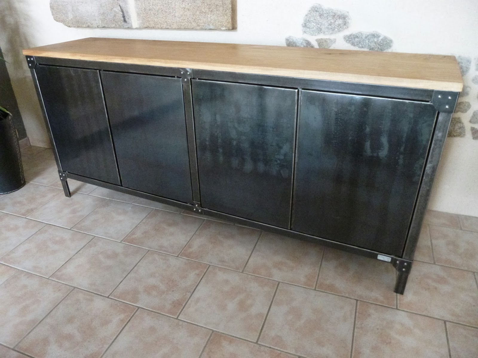 C factory creation buffet metal et bois - Buffet bois et metal ...