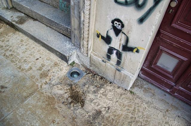 Baustelle Straßenbauarbeiten, Graffiti, Templiner Straße und Schwedter Straße, 10119 Berlin, 03.04.2014