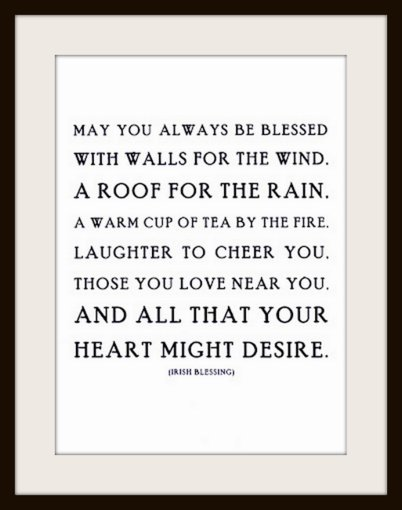 an irish blessing content in a cottage