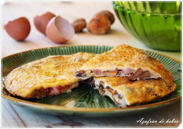 Tortilla de setas y jamón