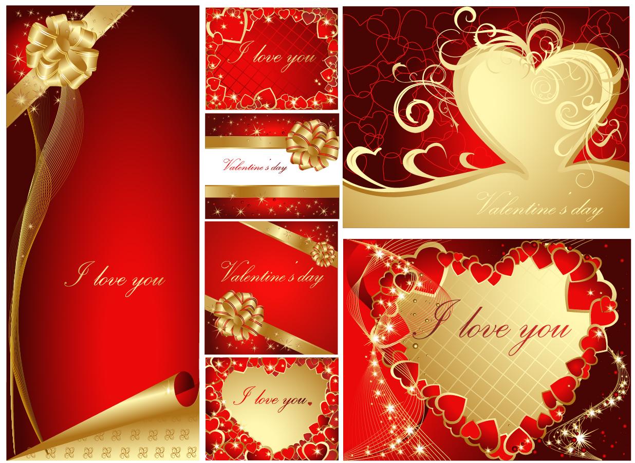 華やかなバレンタインデー グリーティングカード テンプレート Heart romantic valentine day greeting card イラスト素材1