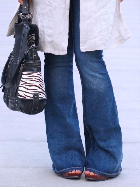 flare jeans, Zara sleeveless linen coat, Fossil bag