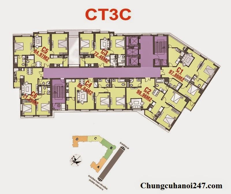 Chi tiết mặt bằng kiến trúc thiết kế chung cư OCT3C Cổ Nhuế