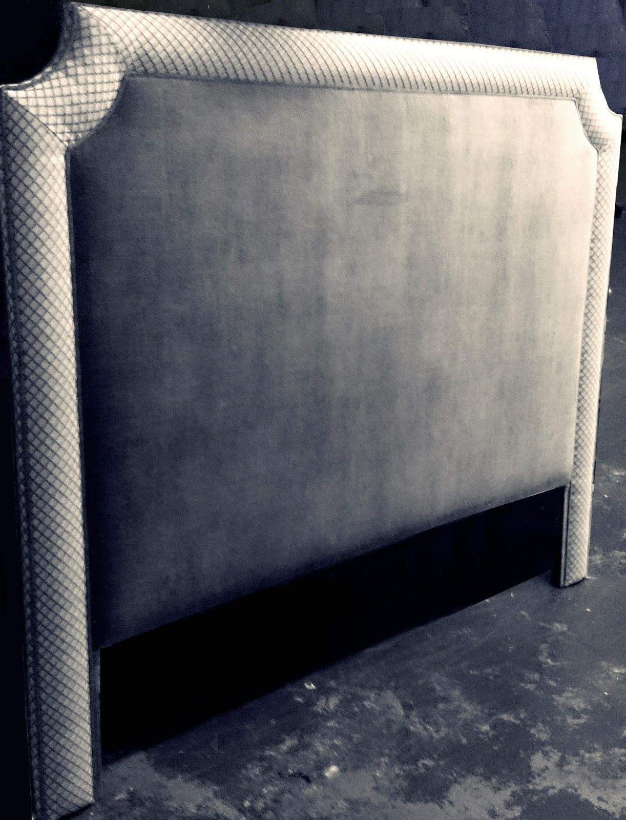 cabecero para cama cm diseo esquinas curvas tapizado con platabanda tela rombos y rematado con vivo