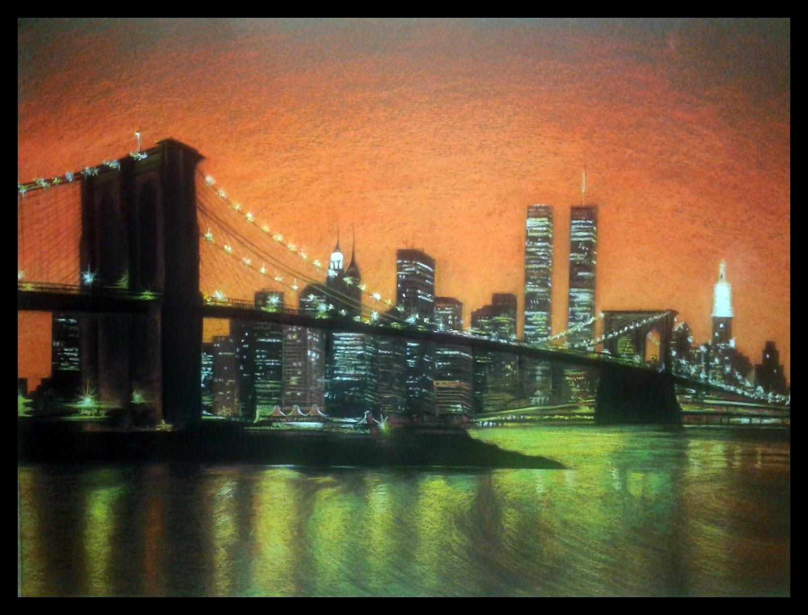 Puente de Brooklyn es un cuadro pintado por MartaSb con pinturas pastel