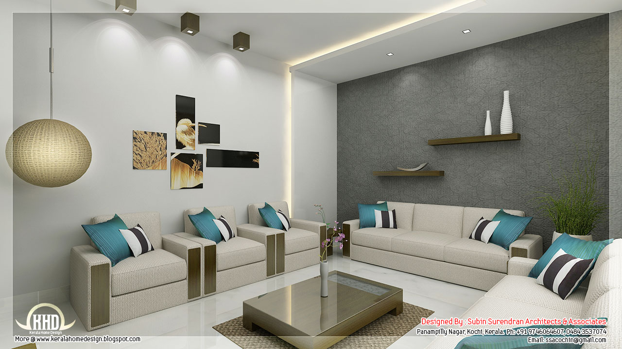 Awesome 3d interior renderings kerala home design and for Interior design my living room