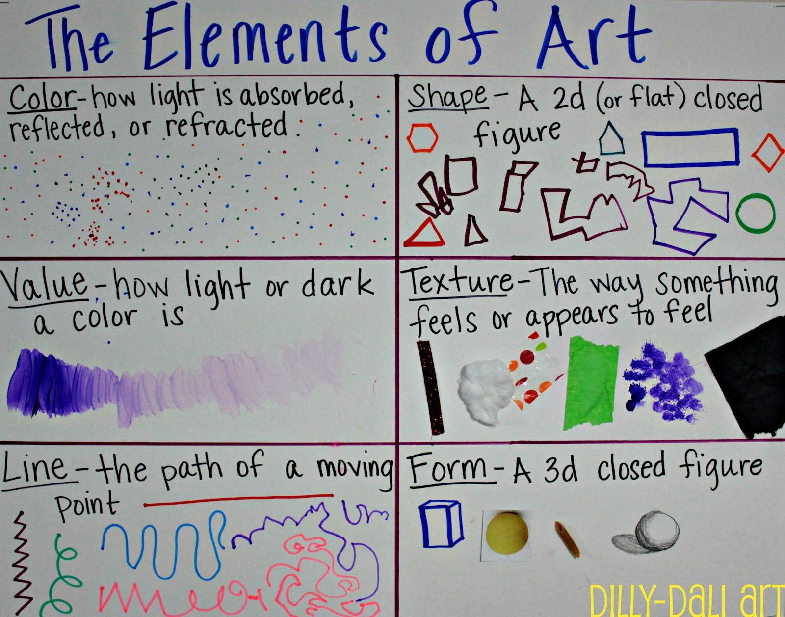 Visual Elements Of Art Examples : Dilly dali art elements of poster