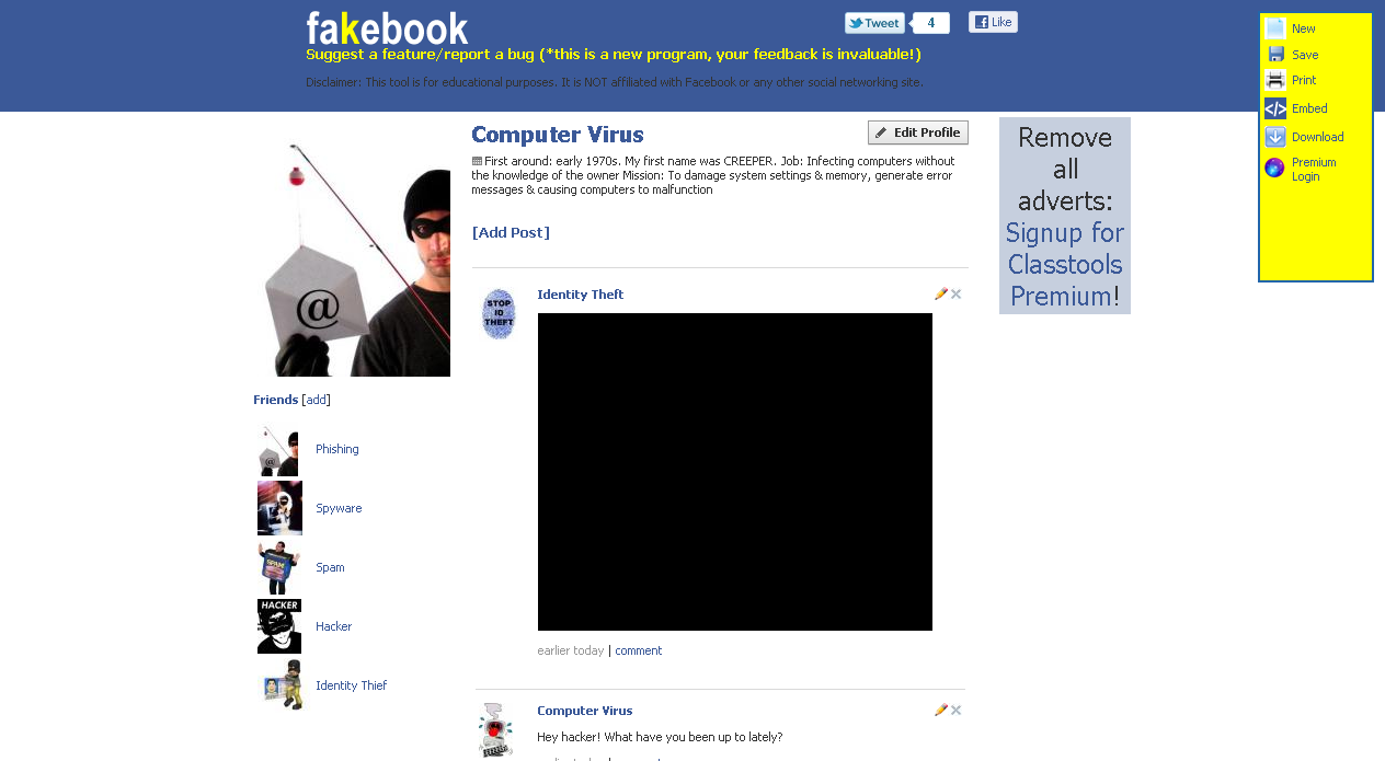 teacher's adventure: fakebook - make fake facebook pages using a, Powerpoint templates