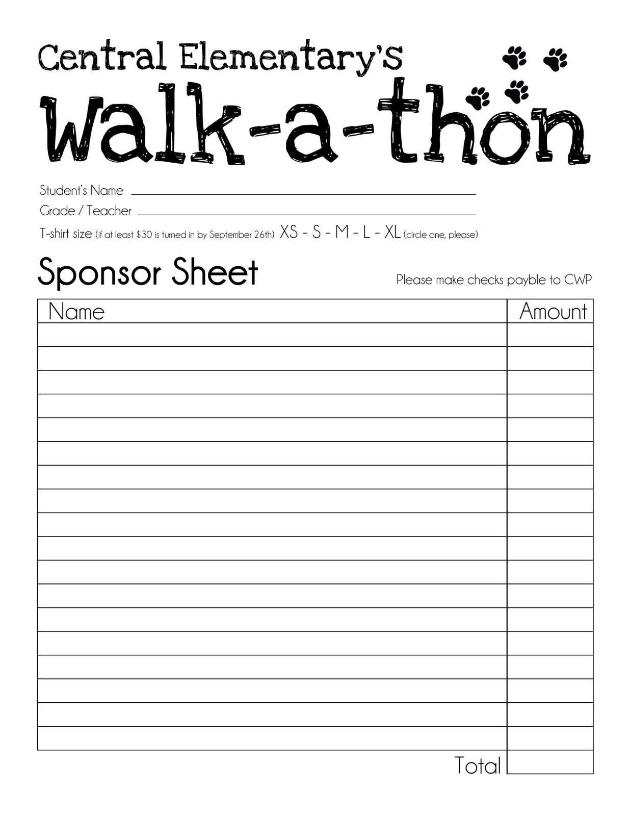 Central Wildcat Pride: Walk-a-thon Sponsor Collecting Starts Today!