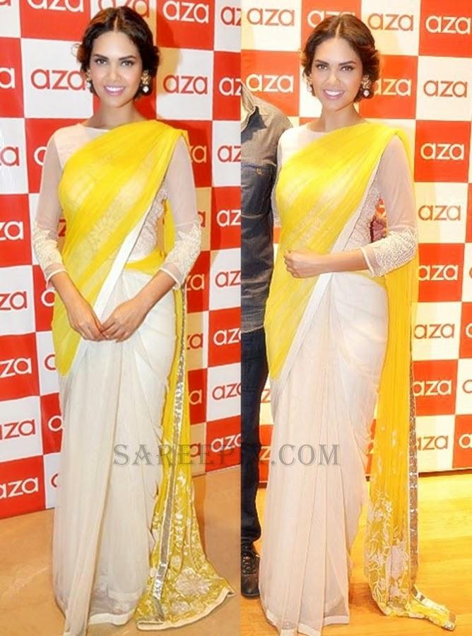Esha-gupta-white-yellow-half-saree-Aza-new-store-launch