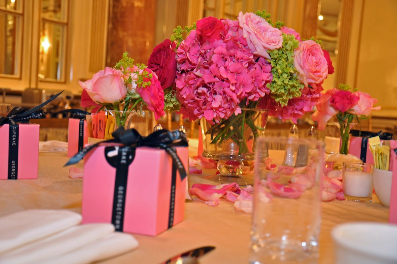 les fleurs : fairmont copley plaza hotel : summer bridal shower : hot pink and green : garden roses and hydrangea