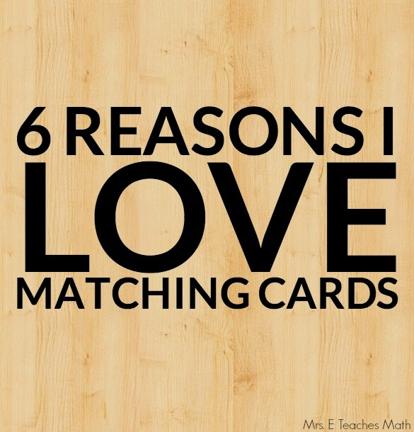 Matching cards are great for use in the classroom.  Here's why.     mrseteachesmath.blogspot.com