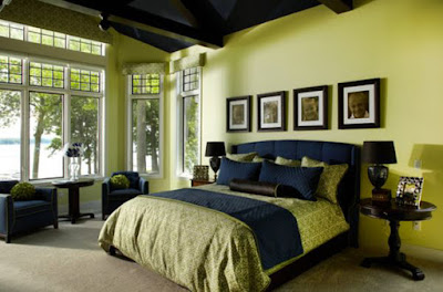 Kamar Tidur dengan warna cat nuansa hijau
