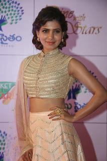 Samantha Ruth Prabhu in Golden Choli Ghagra at Memu Saitam Dinner with Star Events WOW Must see Pics