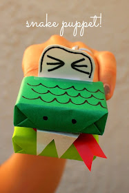 make snake puppets- kids craft
