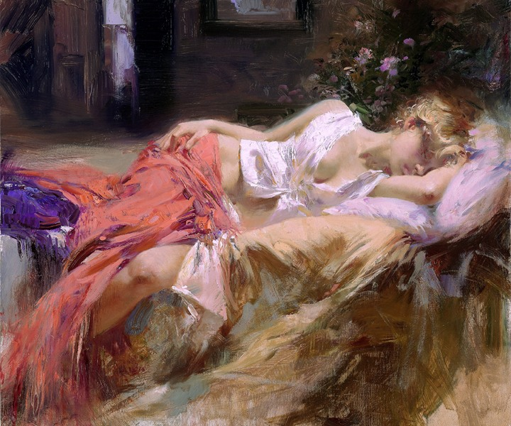 Beautiful Painting Of Sleeping Girl