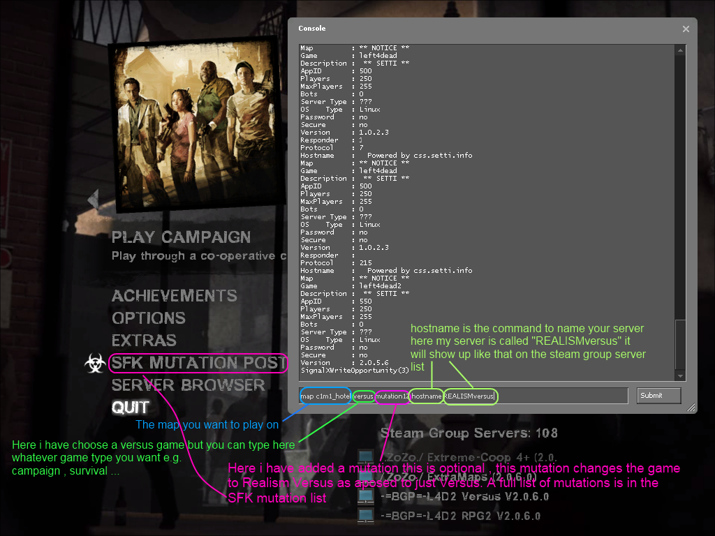 how to create versus mode in l4d2 lan console