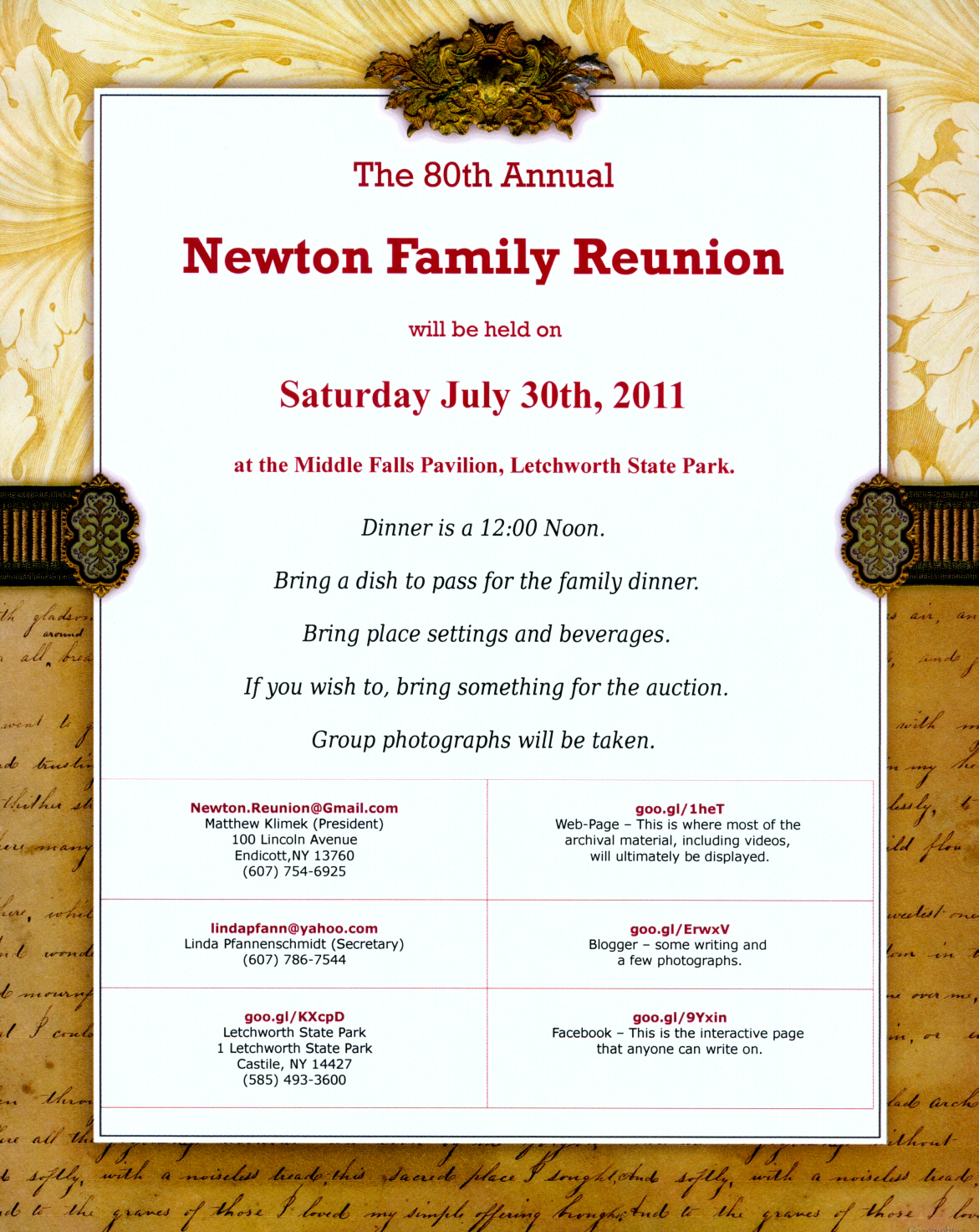 Invitations For Family Reunion Church Clerk Cover Letter Sample 2011 07 30  80th Annual Reunion Invitations  Invitations For Family Reunion