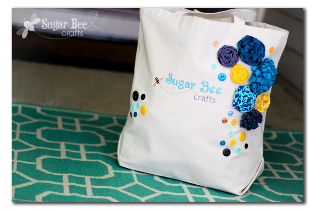 Blog Logo Embroidered Bag - Sugar Bee Crafts