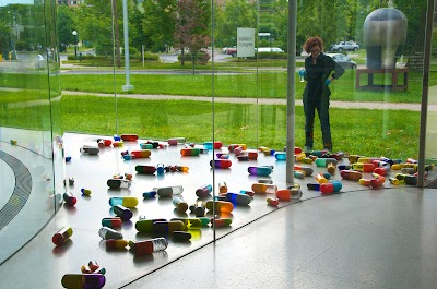 Installation by Beverly Fishman on view at Toledo Museum of Art Glass Pavilion
