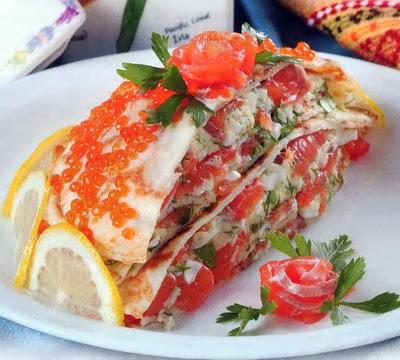 Блинный пирог рецепт с рыбой 71