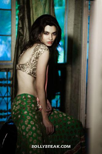 Diana Penty in hot palluless saree, wearing bikini blouse - Diana Penty Hot Backless blouse Pic - Navel show