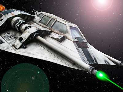 A space squadron fighter fires its laser cannon in battle.