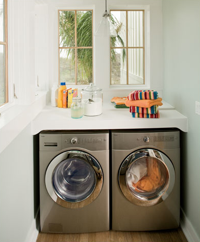 Wrapped in Raffia: washer and dryer countertop