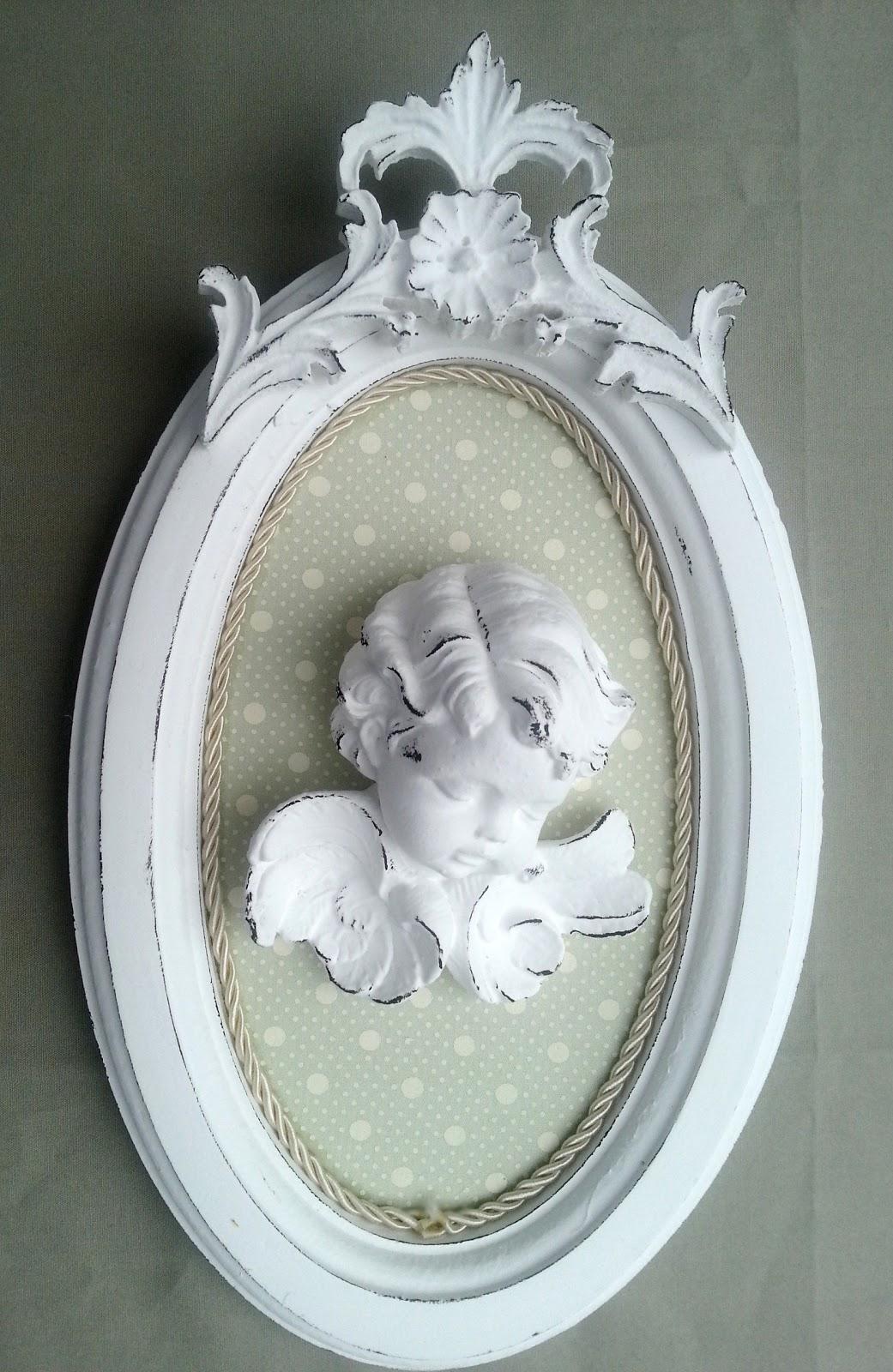 Resinas provence rococ quadro anjo estilo proven al com for Arcones de resina para exterior