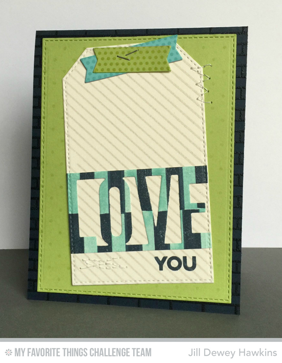 Love Tag Card from Jill Dewey Hawkins featuring the Love and Stitched Traditional Tag STAX Die-namics