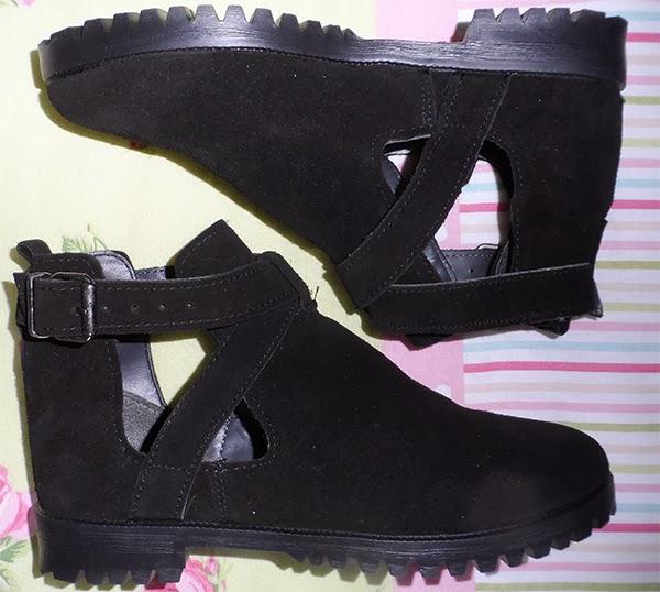 ASOS Black Cut Out Ankle Boots