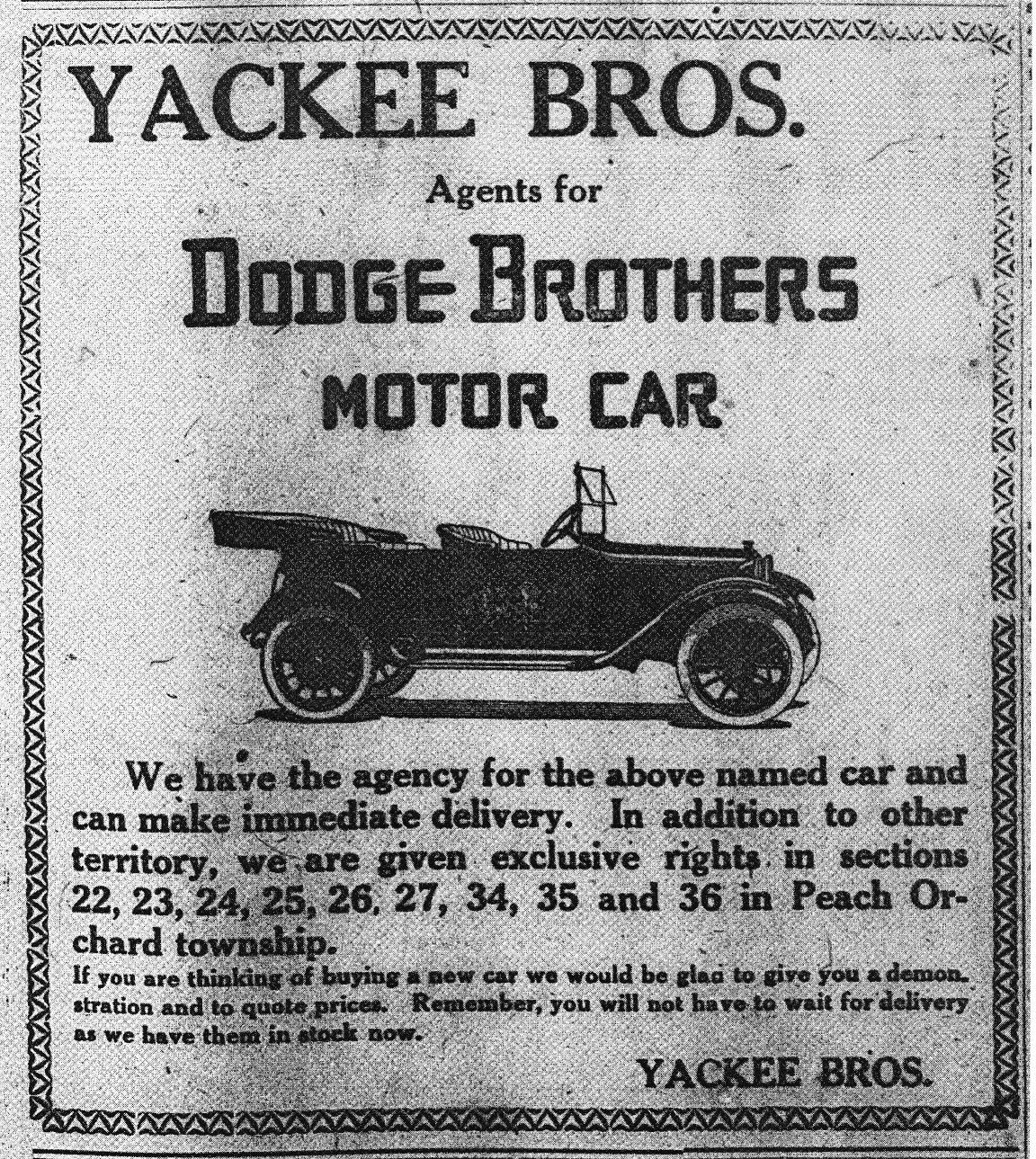 Yackee Bros. 1920 Ad
