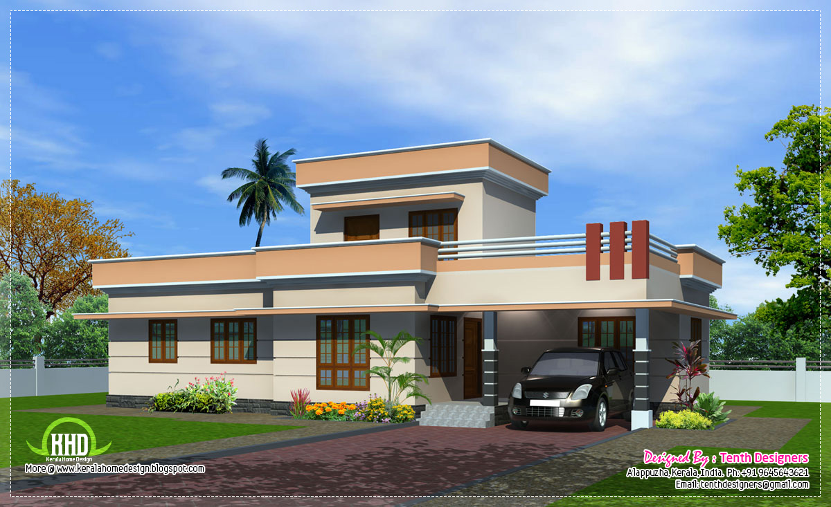 1300 One Floor House Exterior Kerala Home Design