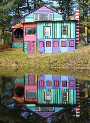 reflection of a colorful house