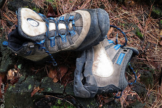 Destroyed hiking boots