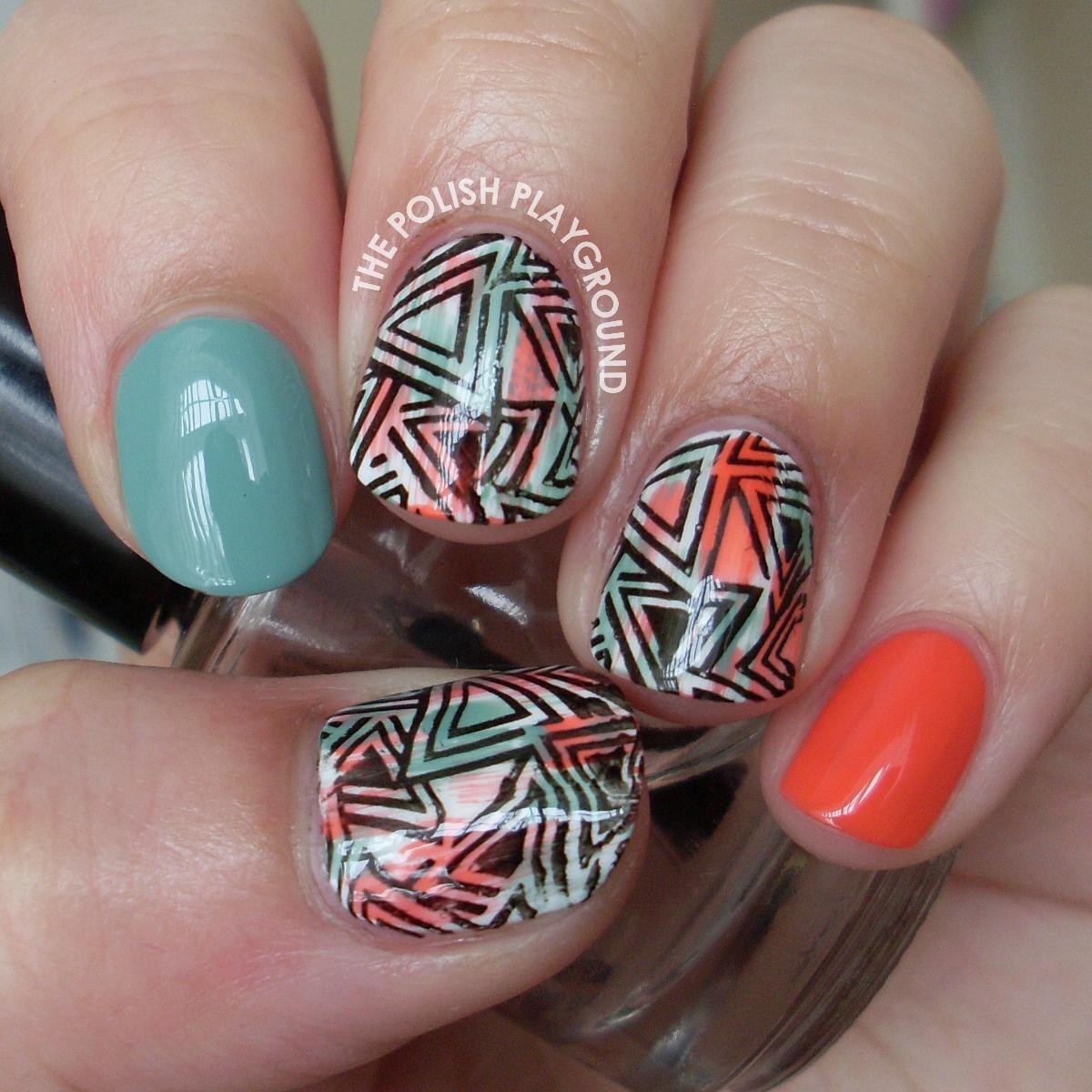 Distressed Geometric Stamping Nail Art