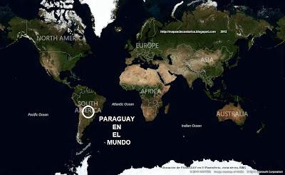 Ubicación de PARAGUAY en El Planisferio, vista aérea, BING